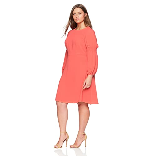 e02d2cdd508 London Times Women s Plus Size Smocked Long Sleeve Fit and Flare Dress