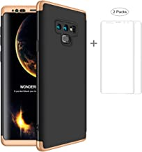 JOYTAG compatibles para Funda Samsung Note 9 +Protector de Pantalla [2 Paquetes] 360 Grados Ultra Delgado 3 en 1 Case-Oro Negro