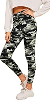 SweatyRocks Women's Camo Print Crop Leggings Yoga Tight Runing Jogger Active Pants