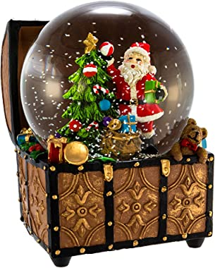 Kurt S. Adler J3259 100mm Wind-Up Musical Santa Water Globe in Treasure Chest