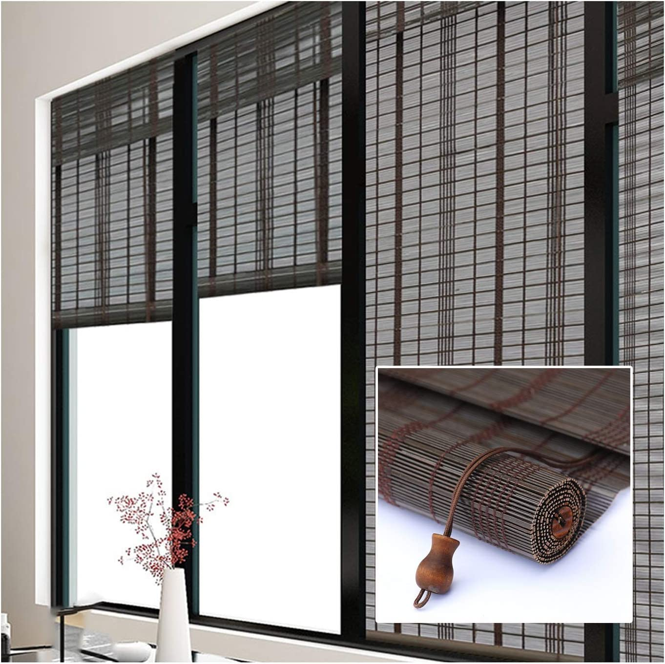 GDMING Bamboo Roller Blinds UV Elegant Purchase Roll-and-Pull Home Wi Protection