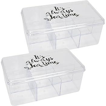 com-four® Caja de Almacenamiento 2X para Bolsas de té y té, Caja de té de plástico Transparente con 6 Compartimentos, 21,5 x 15 x 9 cm (02 Piezas - 21.5x15x9cm Transparente): Amazon.es: Hogar