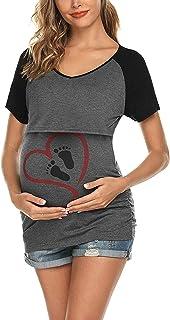 Topgrowth T Shirt Premaman Divertenti Stampa Top Casual Camicetta Infermieristica maternità Maglietta a Maniche Corte