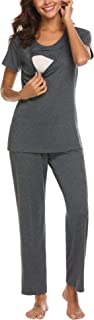 MAXMODA Cotton Nursing/Labor/Delivery Maternity Pajamas Set for Hospital Home, Basic Nursing Shirts, Pregnancy Pants