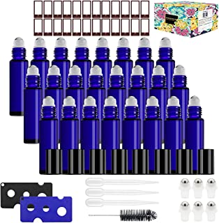 Glass Roller Bottles,24 Pack 10ml Cobalt Blue Roller Bottles for Essential Oils Roller Bottles with Stainless Steel Roller Balls (1 Brush, 24 Labels, 3 Droppers, 6 Extra Roller Balls, 2 Openers)