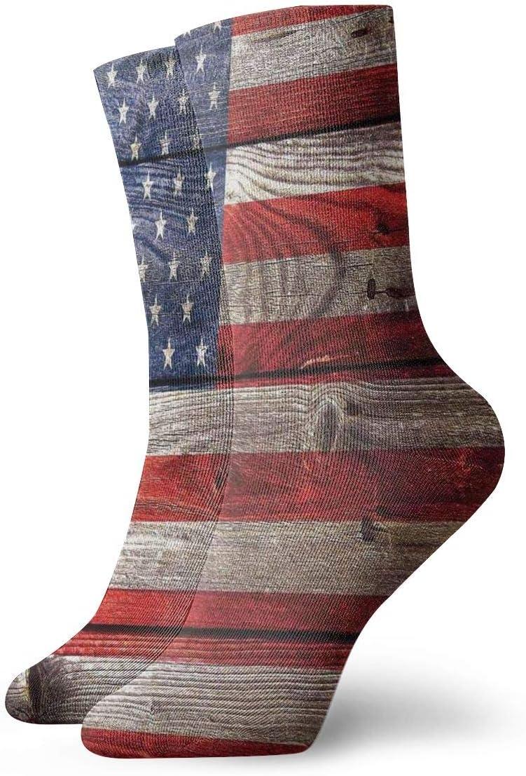 Unisex Casual American Flag Socks Moisture Wicking Athletic Crew Socks