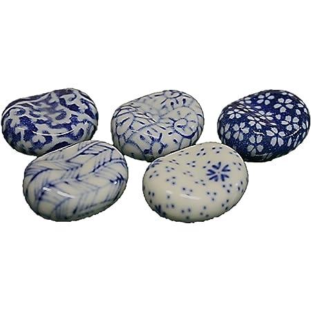 陶器 染付花風靡箸置揃 5個 セット 箸置き そら豆 製造直売 ACSWEBSHOPオリジナル