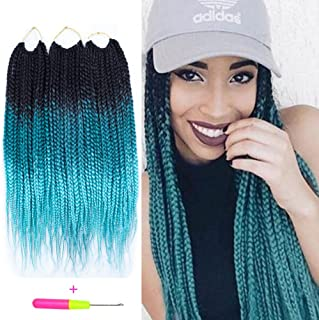 Box Braids Crochet Hair Extensions 120g 20Roots/pcs Kanekalon Three Tone Ombre Braiding Hair Synthetic Crochet Jumbo Box Braids (18 inch 3 pcs, 1b/green/light green)