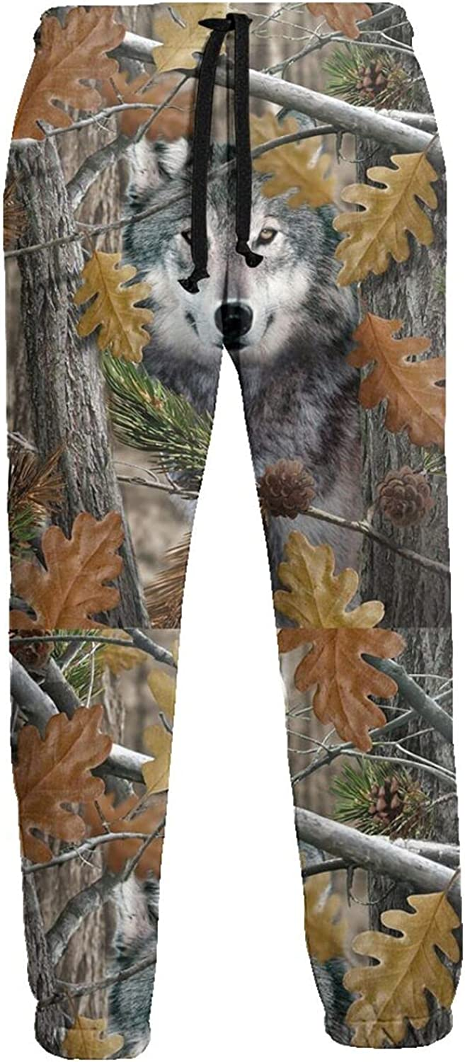 KAWAHATA Camo Wolf Men's Pants with Pockets Tapered Athletic Sweatpants 3D Casual Active Sports Pants