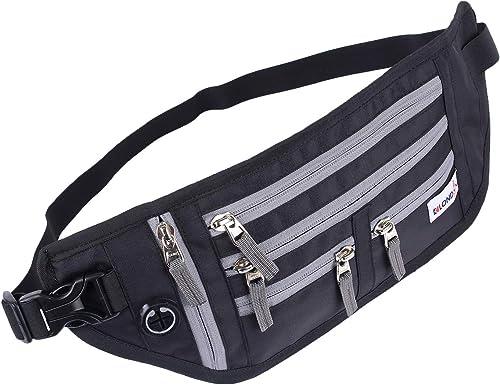 Spill Proof Tetron Leather Travel Pouch Passport Holder Cycling Waist Bag Black Grey
