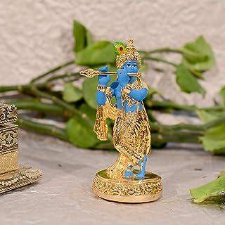 CraftVatika Gold Plated Krishna Statue Flute Playing Krishan Idols Hindu Religious Showpiece Home Office Diwali Gifts Deco...