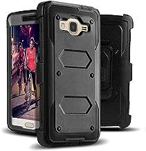 J.west Galaxy J3 Case, J3 (2016) Case, Shock Absorption Full Body Rugged Hybrid Armor Stand Holster Belt Clip Defender Cover for J3, J3 (2016), J3 V, Express Prime, Amp Prime, Galaxy Sky- Black