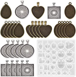 Resin Jewelry Molds,Resin Casting Mold Kit Epoxy Silicone Jewelry Pendant Making Set Mold Base for Pendant Crafting DIY Je...