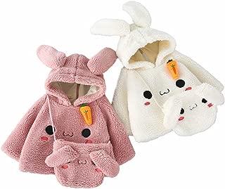 Toddler Baby Girls Fleece Jacket Bunny Ear Hooded Zipper Winter Coat + Matching Bunny Bag 2Pcs Outfit Set