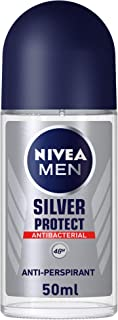 NIVEA MEN Silver Protect, Antiperspirant for Men, Antibacterial Protection, Roll-on 50ml