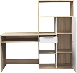 Wood & Style Deluxe Premium Collection Weston 1 Drawer 1 Door Desk White/Oak Structure Decor Comfy Living Furniture