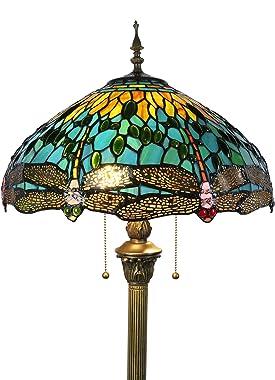 Tokira Tiffany Stehlampe Grün Libelle, E27 Vintage Stehlampe Wohnzimmer, Modern Leselampe Stehlampe Kinderzimmer, 16 Zoll Meh