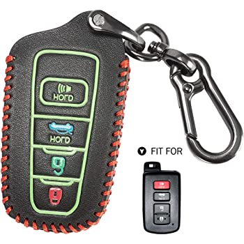 Leather 4 Buttons Keyless Entry Remote Control Smart Key Case Cover with Key Chain Fit for Toyota Corolla Camry Avalon Rav 4 Highlander