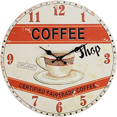 Lily's Home Retro Style 1960s Vintage Inspired Coffee Shop Kitchen Wall Clock, Complements a Minimalist or Old-Fashioned Déco