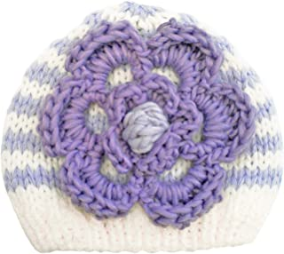 Huggalugs Baby or Toddler Girls Cozy Striped Flower Sweater, or Beanie Hat