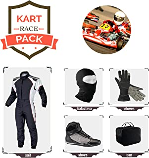 Sports Blue Go Kart Racing Suit Suit,Gloves,Balaclava and Shoes Free Bag - Black with White Side Style