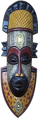 Black 116823 Spirit of Fruitfulness Ewe Wood Mask NOVICA Decorative Large Sese Brass