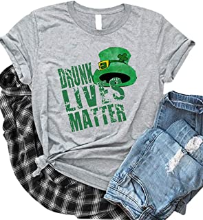 St. Patrick's Day Casual T-Shirt Tops Women Drunk Lives Matter Cute Short Sleeve Graphic Blouse Tee