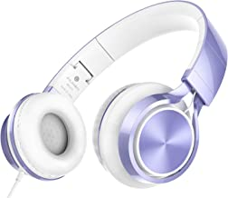 AILIHEN MS300 Wired Headphones, Stereo Foldable Headset for iOS Android Smartphone Laptop Tablet PC Computer (Violet)
