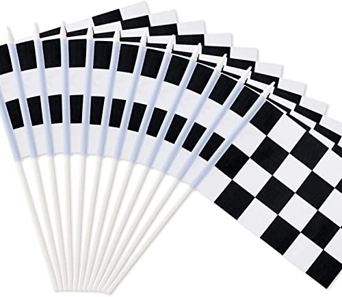 """Novelty Place 8""""x5.5"""" Checkered Black and White Racing Stick Flag - Plastic Stick - Decorations for Racing, Race Car ..."""