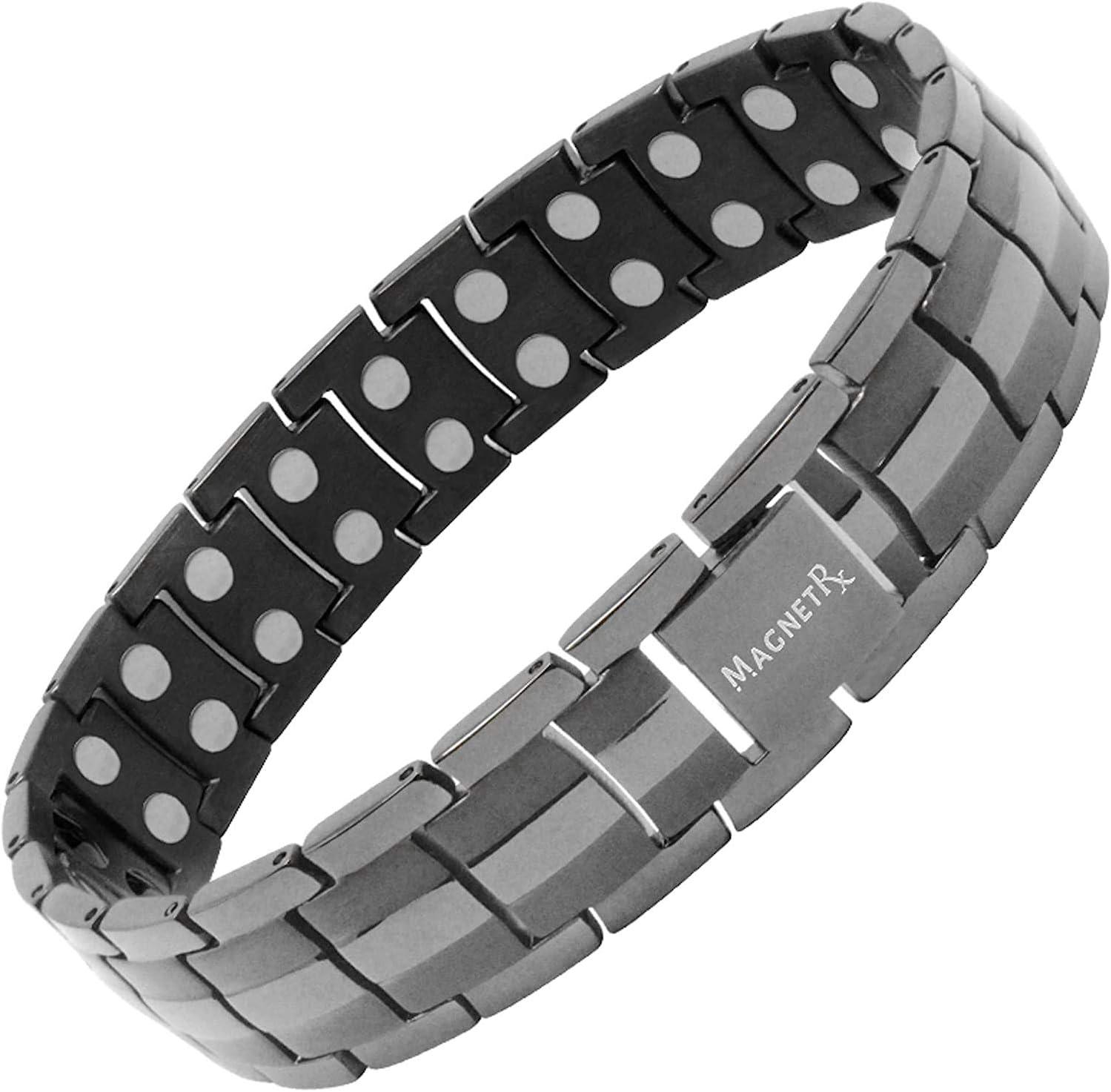 MagnetRX Ultra Strong Magnetic Therapy Bracelet   Arthritis Pain Relief and Carpal Tunnel Magnetic Bracelets for Men   adjustable with gift box, Adjustable Men's Bracelet, Black