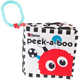 Sassy Peek-a-Boo Activity Book with Attachable Link for On-The-Go Travel | Black & White | for Ages Newborn and Up