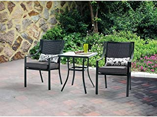 Mainstays Alexandra 3-piece Bistro Outdoor Patio Furniture Set Features Red Stripe Cushions with Butterflies. This Set Is a Perfect Addition to Any Deck, Patio, Porch or Garden Area.