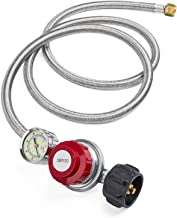 GASPRO 5 Foot 0-30 PSI High Pressure Adjustable Propane Regulator with Gauge/Indicator, Stainless Steel Braided Hose, Gas Grill LP Regulator for Burner, Turkey Fryer, Forge, Smoker and More.