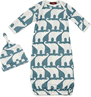 Milkbarn Organic Cotton Gown and Hat Set Blue Elephant - 0-3 Months