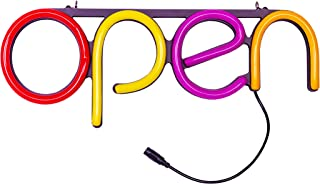 LED Neon Open Sign Light. Perfect to Advertise Storefront, Business, Office, Shop and Restaurant. Ultra Bright Red, Yellow, Pink, Orange Designer Color. Custom Built, Elegant Window Display