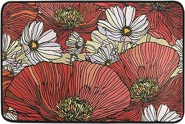 MASSIKOA Elegance Poppy Flowers Non Slip Backing Entrance Mat Floor Mat Rug Indoor Outdoor Front Door Bathroom Mats 23.6 x 15