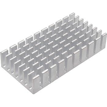 オーディオファン ヒートシンク アルミ 放熱板 25mm × 50mm × 10mm シルバー 1個