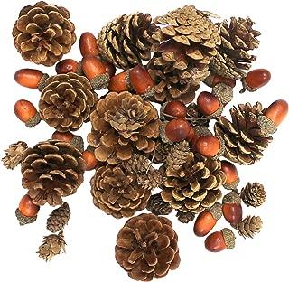 The Royal Standard Harvest Brown Pinecone Acorn 1.5 inch Faux Wood Decorative Tabletop Vase Filler