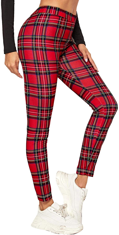 SweatyRocks Women's Casual Plaid Leggings High Waist Skinny Stretchy Work Pants
