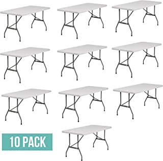 EventStable TitanPRO Plastic Folding Table - 6' x 30'' - 10 Pack