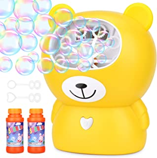 Amagoing Rechargeable Bubble Machine, Automatic Bubble Blower for Kids with Bubbles Solutions and 2 Blowing Speed Levels for Outdoor/Indoor Use