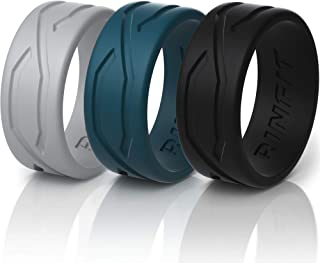Rinfit Silicone Wedding Ring for Men/Women - 3 or 5 Rings Pack - Designed Silicone Rubber Band Thin 5.5 mm Width - Thin,  Comfortable and Durable Wedding Ring Replacement - Matching Sets