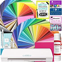 Silhouette Cameo 3 Bluetooth MEGA Vinyl Bundle with 129-12x12 Inch Oracal Vinyl Sheets, Transfer Paper, Guide, Class, and More