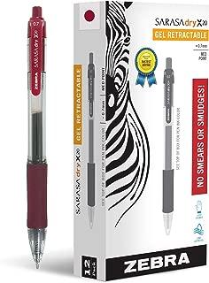 Zebra Pen Sarasa X20 Retractable Gel Ink Pens, Medium Point 0.7mm, Mahogany Rapid Dry Ink, 12 Pack (Packaging may vary)