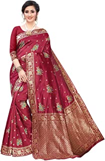 Strictly Maroon Cotton Silk Banarasi Jacquard Saree with Unstitched Blouse (Maroon_Free Size)