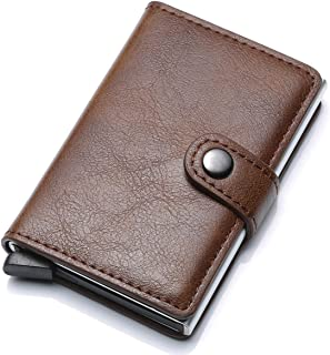 Munixi Credit Card Holder Leather Slim Wallet RFID Blocking Pop Up Aluminum Card Cas High Capacity Credit Cards Wallet (Brown (Single Box))