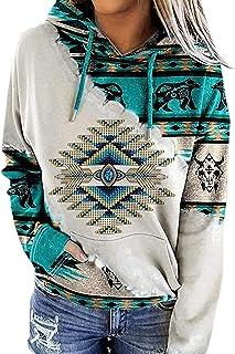 Womens Casual Ethnic Style Hooded Sweatshirt Geometric Horse Print Long Sleeve Drawstring Pullover Tops
