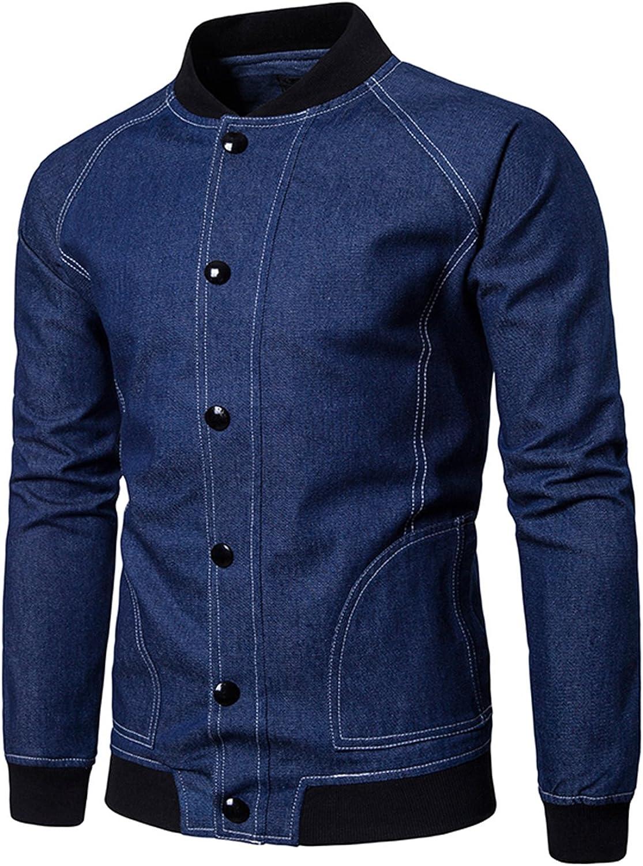 c3e09b28c1 Yeokou Men's Casual Long Sleeve Sleeve Sleeve Button Down Stand Collar  Pilot Denim Jacket Coat 7b505d