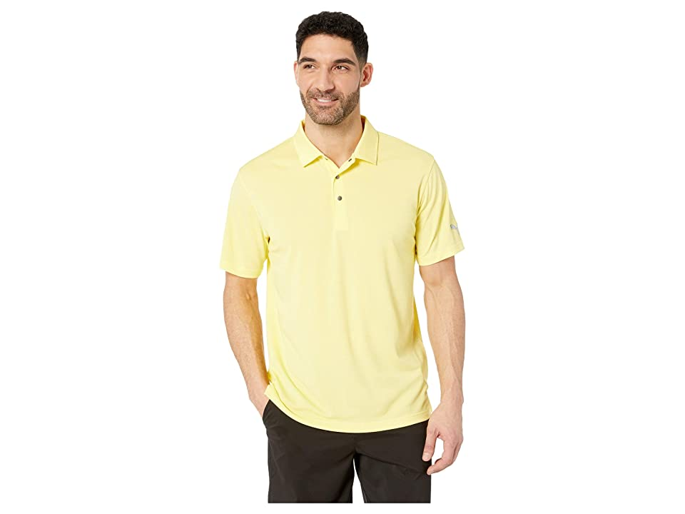 Image of PUMA Golf Grill To Green Polo (Blazing Yellow Heather) Men's Clothing