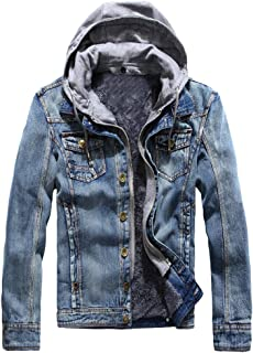 Lavnis Men's Winter Denim Hooded Jacket Slim Fit Casual Jacket Button Down Distressed Jeans Coats Outwear